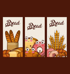 bread fresh set cartoon kawaii food banners vector image