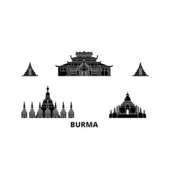 Burma flat travel skyline set burma black city vector