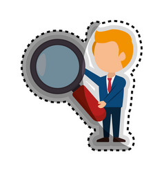 Businessman character avatar with magnifying glass vector