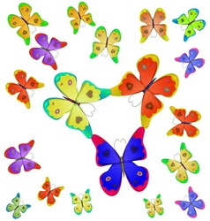 Butterflies of different colors vector image