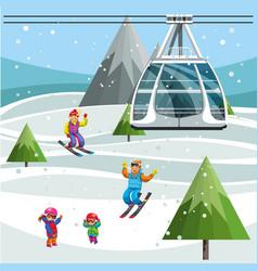 Cartoon people skiing on snowy slopes vector