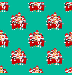 cats with santa hat bouquet present on green teal vector image