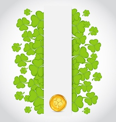 Celebration card with clovers and golden coins for vector image