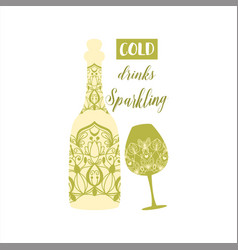 Champagne bottle and alcohol glass vector
