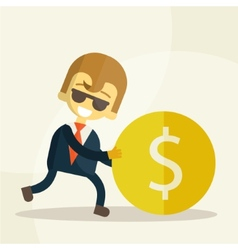 Cheerful businessman rolls coin vector