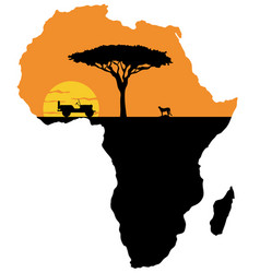Cheetah on the background of africa map vector