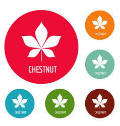 Chestnut leaf icons circle set vector
