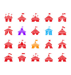 circus tent color silhouette icons set vector image