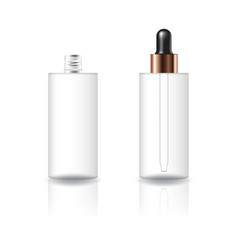 Clear cosmetic cylinder bottle with dropper lid vector