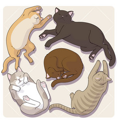 Collection cute cartoon cats in various poses vector