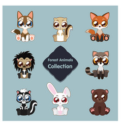 Collection of cute woodland animals vector
