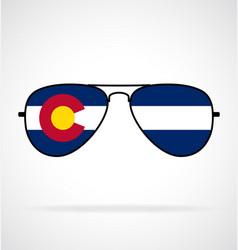Cool aviator sunglasses with colorado co flag vector