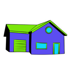 Cottage with a garage icon icon cartoon vector