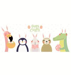 Cute animals easter card vector