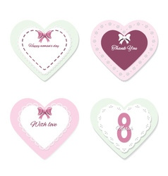 Cute lacy heart templates set vector