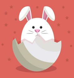 Cute rabbit in egg vector