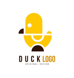 Duck logo original design creative badge with vector