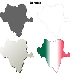 Durango blank outline map set vector image