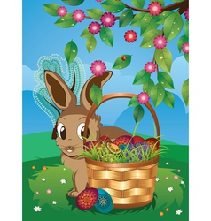 Easter Bunny with Eggs in the Basket3 vector image
