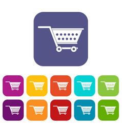 Empty supermarket cart icons set flat vector