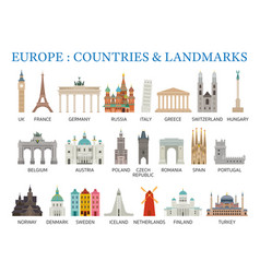 Europe countries landmarks in flat style vector