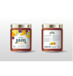 exotic fruit jam label jar packaging sugar free vector image