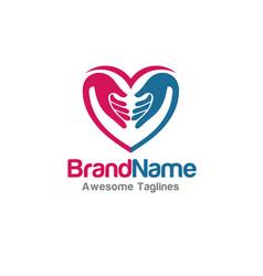 Family love hands logo vector