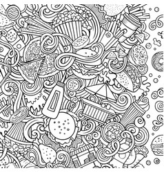 fastfood hand drawn doodles fast food frame card vector image