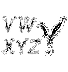 Floral black and white capital letters vector image vector image