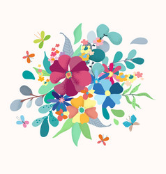Floral bouquet with simple color flowers vector