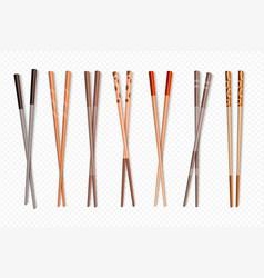 Food chopsticks asian bamboo sushi sticks for vector