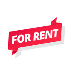 For rent word on red ribbon headline red tape vector