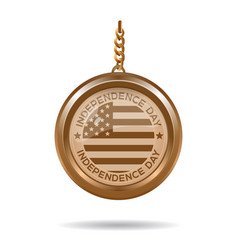 Gold medallion for independence day 4th july vector