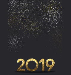 grey new year background with gold mosaic 2019 vector image