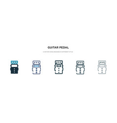 Guitar pedal icon in different style two colored vector