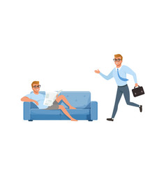 Guy reading newspaper and running in hurry set vector