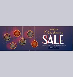 Hanging christmas balls decoration sale banner vector