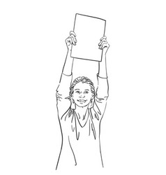 happy woman showing blank banner in hands raised vector image