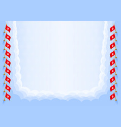Horizontal frame and border with tunisia flag vector