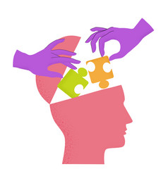 human head silhouette with hands putting puzzle vector image