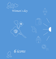 I love you womens doodle 6 icon in set of womens vector