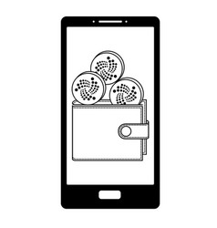 Iota wallet on the phone screen vector