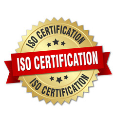 Iso certification round isolated gold badge vector