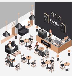 isometric coffee shop vector image