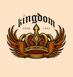 kingdom elegant gold crown and wing vector image