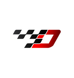 Letter d with racing flag logo vector