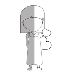 line pretty girl with hearts in the hand and dress vector image
