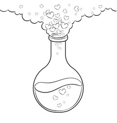 Love potion coloring book vector