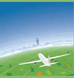Marrakesh skyline flight destination vector