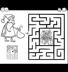 maze activity game with santa claus vector image